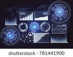 digital business interface on... | Shutterstock . vector #781441900