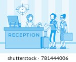 tourists at reception in a... | Shutterstock .eps vector #781444006