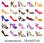 collection of women's shoes... | Shutterstock .eps vector #781445710