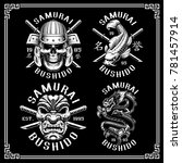 set of vintage samurai emblems  ... | Shutterstock .eps vector #781457914