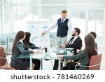 business team gives a... | Shutterstock . vector #781460269