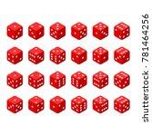 24 isometric dice. twenty four... | Shutterstock .eps vector #781464256