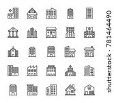 buildings vector line icons 2 | Shutterstock .eps vector #781464490