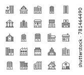 buildings vector line icons 2 | Shutterstock .eps vector #781464490