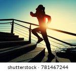 sporty fitness female runner... | Shutterstock . vector #781467244