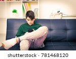 teenager with mobile phone on...   Shutterstock . vector #781468120