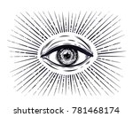 all seeing eye symbol. vision... | Shutterstock .eps vector #781468174