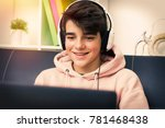 young with computer and...   Shutterstock . vector #781468438