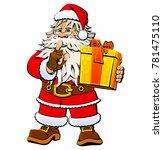 cartoon santa claus with a gift. | Shutterstock .eps vector #781475110