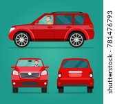 red car two angle set. car with ... | Shutterstock .eps vector #781476793