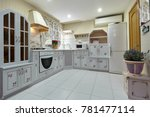 kitchen with appliances and a...   Shutterstock . vector #781477114