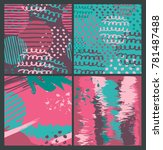 set of abstract hand painted... | Shutterstock .eps vector #781487488