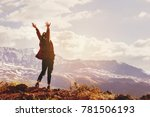 happy woman stands with raised... | Shutterstock . vector #781506193