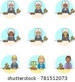 legal  multicolor icon set | Shutterstock .eps vector #781512073