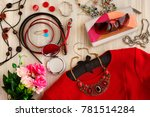 clothes and accessories. red... | Shutterstock . vector #781514284