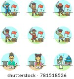 history  multicolor icon set | Shutterstock .eps vector #781518526