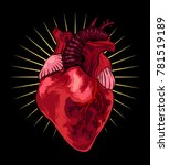 human heart on black background.... | Shutterstock .eps vector #781519189