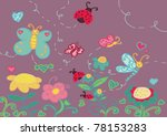 a funny garden with flowers and ... | Shutterstock .eps vector #78153283