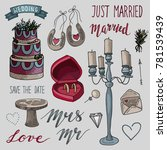 set of hand drawn colorful ... | Shutterstock .eps vector #781539439