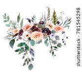 wedding bridal bouquet. green... | Shutterstock . vector #781545298