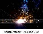 arcing welding iron concept.... | Shutterstock . vector #781555210
