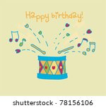 colorful drum happy birthday... | Shutterstock .eps vector #78156106