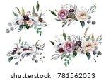 wedding bridal bouquet. green... | Shutterstock . vector #781562053