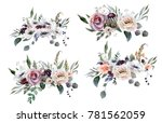 wedding bridal bouquet. green... | Shutterstock . vector #781562059