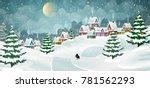 winter village landscape with... | Shutterstock .eps vector #781562293