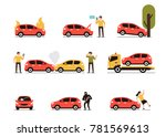 different car accidents with... | Shutterstock .eps vector #781569613