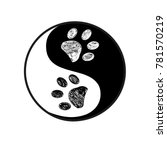 ying yang made of paw print... | Shutterstock .eps vector #781570219
