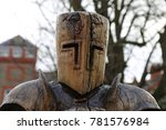 Small photo of Plassey, Denbighshire, Wales, UK. 18 December 2017. A Wooden Knight in the Adventure Playground at a Holiday Park.