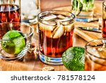 rum with lime and cola. alcohol ... | Shutterstock . vector #781578124