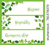 organic horizontal banners with ...   Shutterstock . vector #781578370