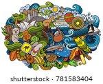 australia doodles elements and...   Shutterstock .eps vector #781583404