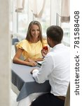 proposal in restaurant. man... | Shutterstock . vector #781588408