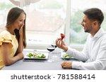 proposal in restaurant. man... | Shutterstock . vector #781588414