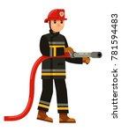 character fireman holding a... | Shutterstock .eps vector #781594483