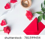 valentine's day flat lay  red...   Shutterstock . vector #781599454