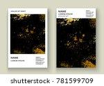 gold explosion paint splatter...   Shutterstock .eps vector #781599709