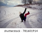 slip on the slippery ice and... | Shutterstock . vector #781601914