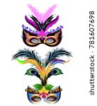 carnival masks with feather and ... | Shutterstock .eps vector #781607698