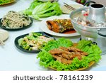 Close up Chinese Food on white door in Chinese new year - stock photo