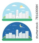 day and night landscape city... | Shutterstock .eps vector #781630084