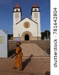 Small photo of Facade of the Cathedral of Our Lady of Candelaria at Bissau in Guinea Bissau. It is a Roman Catholicism building