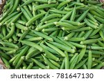 A Lot Of Fresh Okra In The...