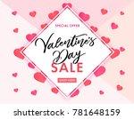 valentines day sale banner pink ... | Shutterstock .eps vector #781648159