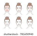 woman take care about face.... | Shutterstock .eps vector #781650940