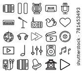 music icons. set of 25 editable ... | Shutterstock .eps vector #781653493