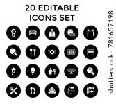 table icons. set of 20 editable ... | Shutterstock .eps vector #781657198